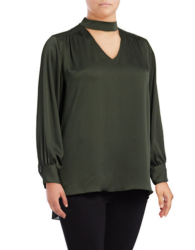 Vince Camuto Plus Plus Long Sleeve Choker Blouse-GREEN-3X