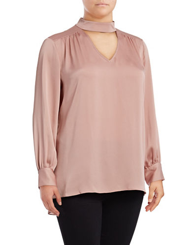 Vince Camuto Plus Long Sleeve Choker Blouse-PINK-2X