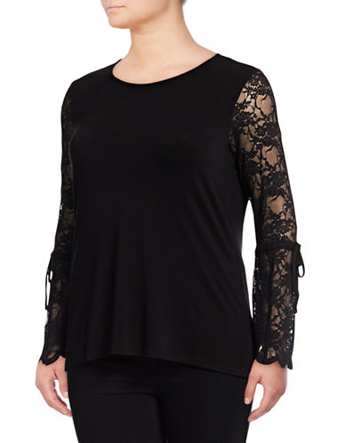 Vince Camuto Plus Plus Self-Tie Lace Sleeve Blouse-BLACK-2X