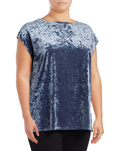 Vince Camuto Plus Boat Neck Crushed Velvet Blouse-BLUE-1X