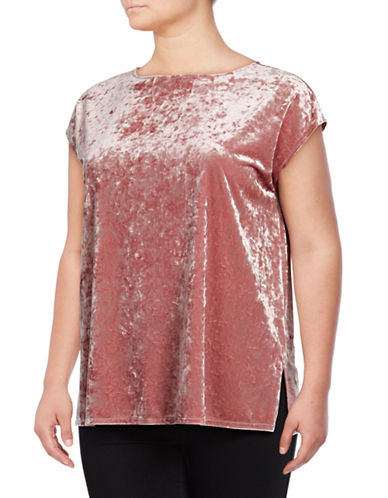 Vince Camuto Plus Boat Neck Crushed Velvet Blouse-ICED ROSE-1X