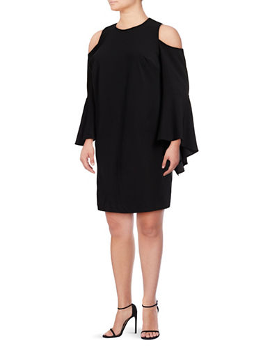 Vince Camuto Plus Plus Butterfly Sleeve Cold Shoulder Dress-BLACK-1X