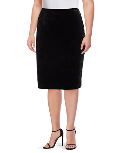 Vince Camuto Plus Plus Crushed Velvet Pencil Skirt-BLACK-2X