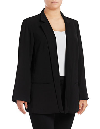 Vince Camuto Plus Plus Texture Base Split-Sleeve Blazer-BLACK-22W