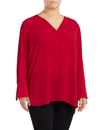 Vince Camuto Plus Long Sleeve V-Neck Tunic-RED-3X