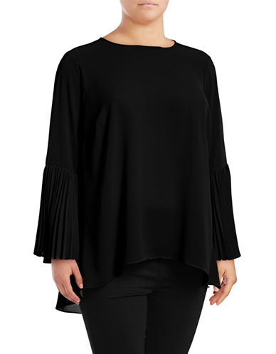 Vince Camuto Plus Pleated Bell Sleeve Blouse-RICH BLACK-3X