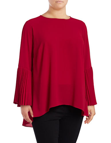 Vince Camuto Plus Pleated Bell Sleeve Blouse-RED-2X