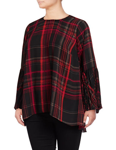 Vince Camuto Plus Plus Pleated Plaid Shirt-RICH BLACK-1X