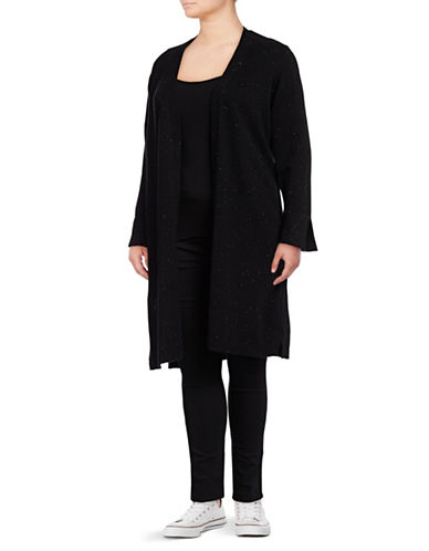 Vince Camuto Plus Plus Speckled Open Cardigan-RICH BLACK-2X