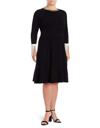 Vince Camuto Plus  Split Cuff Flared Sweater Dress-RICH BLACK-1X