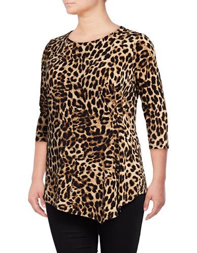 Vince Camuto Plus Leopard Print Top-RICH BLACK-1X