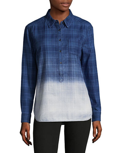 Two By Vince Camuto Plaid Denim Shirt-BLUE-Small