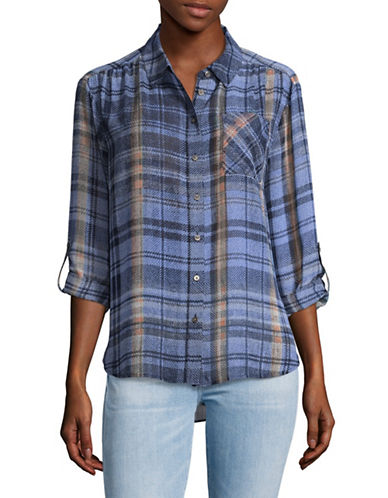 Two By Vince Camuto Sheer Plaid Button-Down Shirt-BLUE-Small