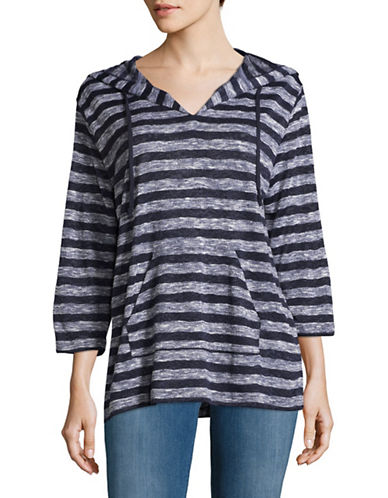Two By Vince Camuto Stripe Knit Hoodie-BLACK IRIS-Small