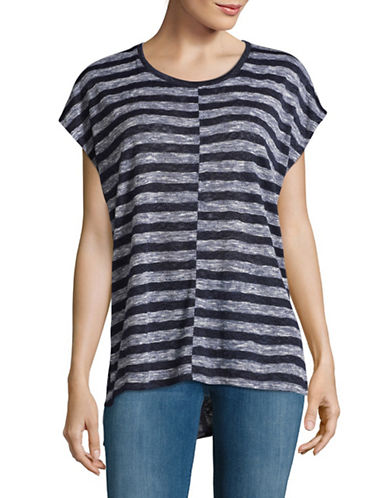 Two By Vince Camuto Split Striped T-Shirt-BLACK IRIS-X-Small