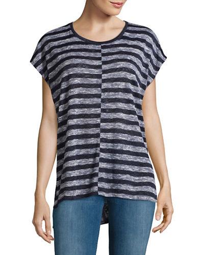 Two By Vince Camuto Split Striped T-Shirt-BLACK IRIS-Medium