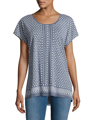 Two By Vince Camuto Bohemian Print T-Shirt-BLUE MULTI-Medium