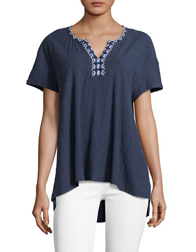 Two By Vince Camuto Woven Hi-Lo Top-BLUE-X-Small