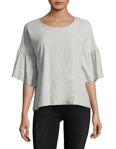 Two By Vince Camuto Ruffle Bell Sleeve Shirt-GREY-Medium