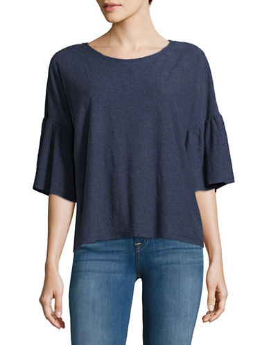 Two By Vince Camuto Ruffle Bell Sleeve Shirt-BLUE-Medium