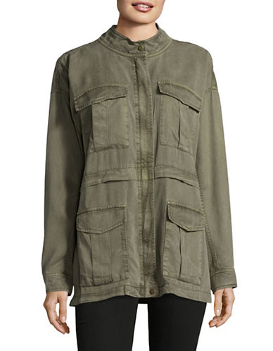 Two By Vince Camuto Utilitarian Stand Collar Jacket-GREEN-X-Small