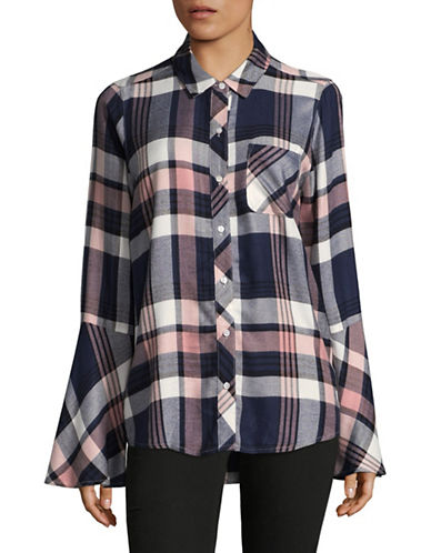 Two By Vince Camuto Plaid Button-Down Shirt-ROSE MULTI-X-Small