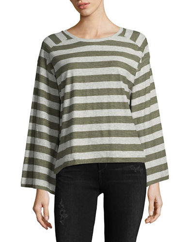 Two By Vince Camuto Lydia Stripe Cotton Tee-GREEN-Large