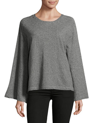 Two By Vince Camuto Marled French Terry Cotton Top-GREY-Small