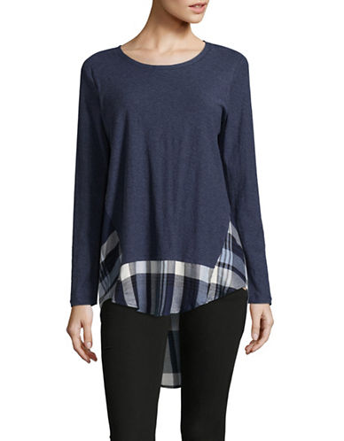 Two By Vince Camuto Plaid Hi-Lo Hem Tee-INDIGO-Small