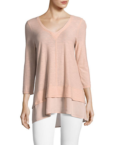 Two By Vince Camuto Mix Media Three-Quarter Sleeve Top-PEACH-Medium