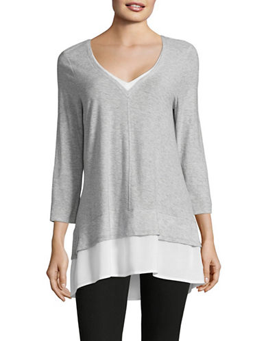 Two By Vince Camuto Double Layered Top-GREY-Large