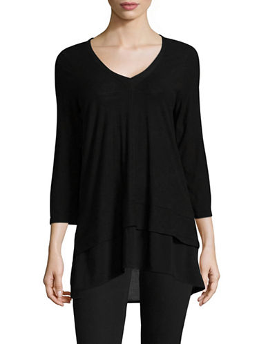Two By Vince Camuto Double Layered Top-GREY-X-Large