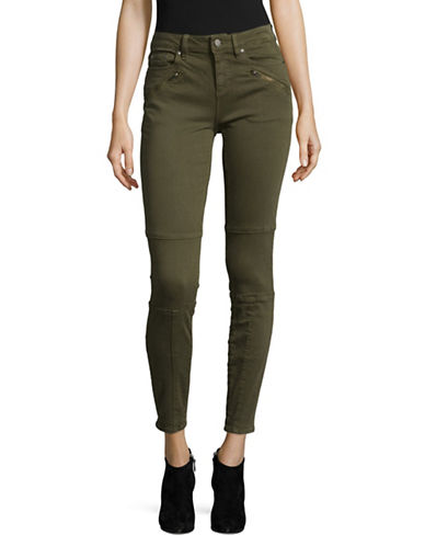 Two By Vince Camuto D-Luxe Twill Moto Jeans-GREEN-33
