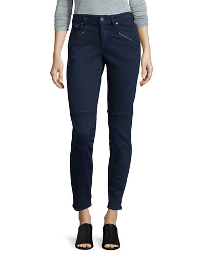 Two By Vince Camuto D-Luxe Twill Moto Jeans-BLUE-32