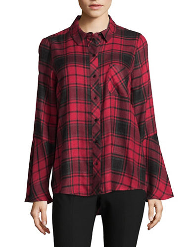 Two By Vince Camuto Stateside Plaid Bell Sleeve Shirt-RED-Medium