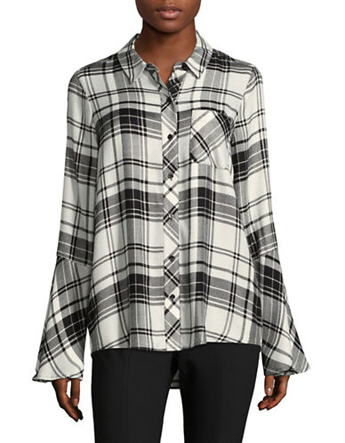 Two By Vince Camuto Bedford Plaid Bell Sleeve Shirt-GREY-Small
