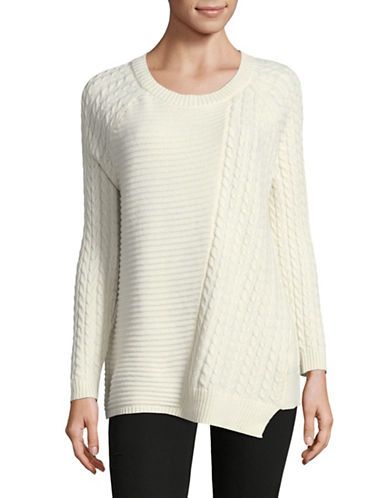 Two By Vince Camuto Mix Knit Sweater-NATURAL-Large