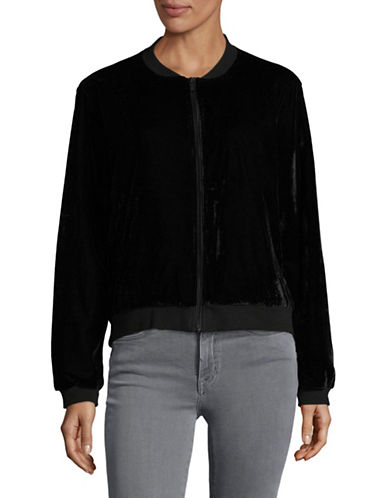Two By Vince Camuto Velvet Bomber Jacket-GREY-Small