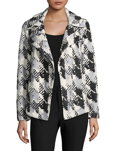 Two By Vince Camuto Faux Fur Broken Houndstooth Jacket-BLACK MULTI-Large