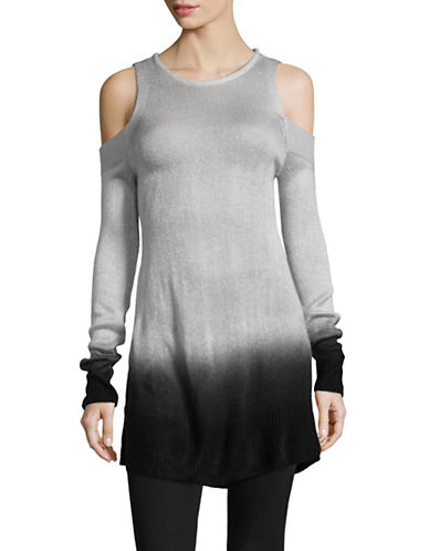 Two By Vince Camuto Dip-Dyed Cold-Shoulder Tunic-GREY-X-Small