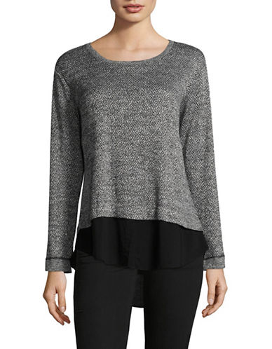 Two By Vince Camuto Lurex Herringbone Jacquard  Top-GREY-Medium