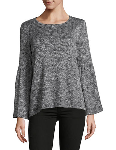 Two By Vince Camuto Jacquard Bell Sleeve Top-GREY-Small
