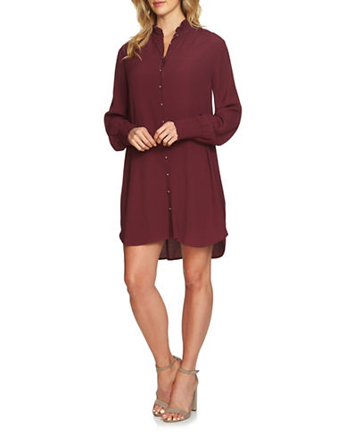 1 State Casual Shirt Dress-PURPLE-Large