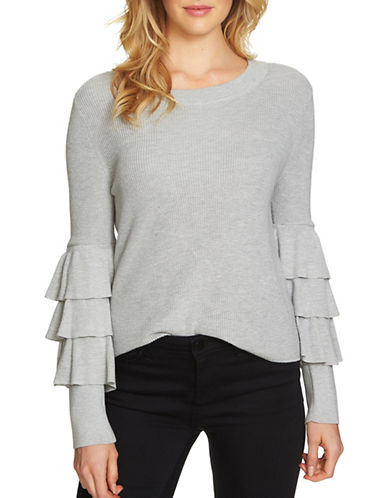 1 State Ruffled Sweater-GREY-Medium