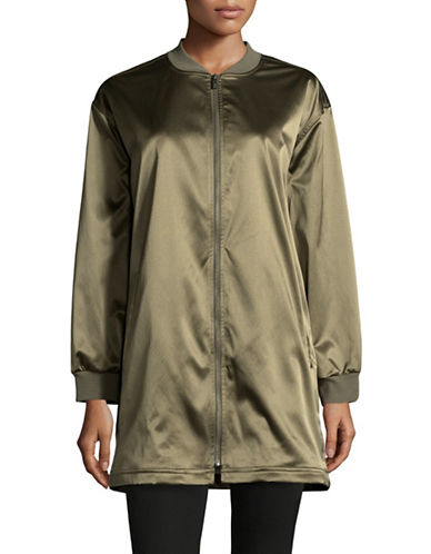 Two By Vince Camuto Taffeta Long Bomber Jacket-GREEN-Small