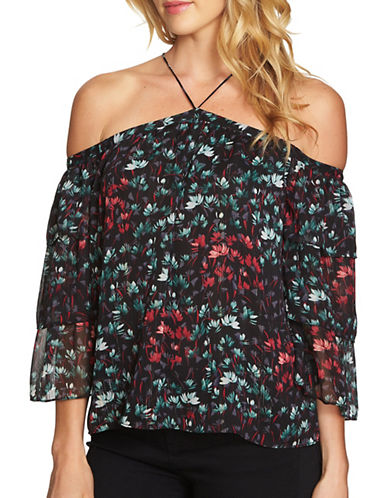 1 State Tiered-Sleeve Cold-Shoulder Blouse-BLACK-X-Small