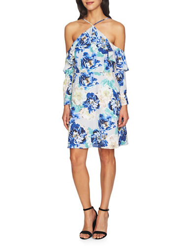 Cynthia Steffe Off-the-Shoulder Ruffle Dress-BLUE-0