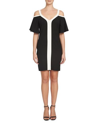 Cynthia Steffe Grace Cold Shoulder Colourblock Dress-BLACK MULTI-2