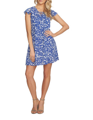 Cynthia Steffe Arianna Lace Up Speckle Ditsy Dress-BLUE MULTI-4