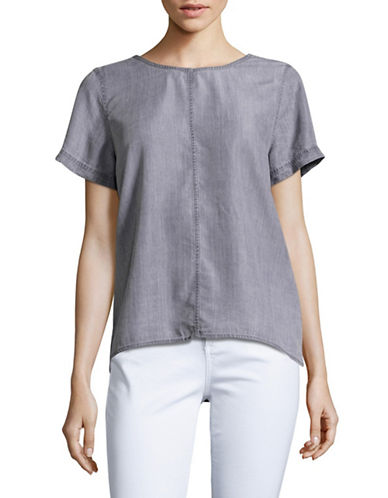 Two By Vince Camuto Split Back Boxy Top-GREY-Large